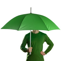 Man holding a green umbrella isolated on white