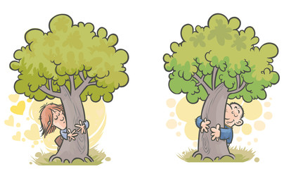Woman and man Tree huggers.