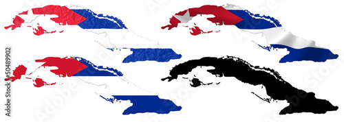 Cuba flag over map collage