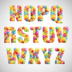multicolored balloon alphabet