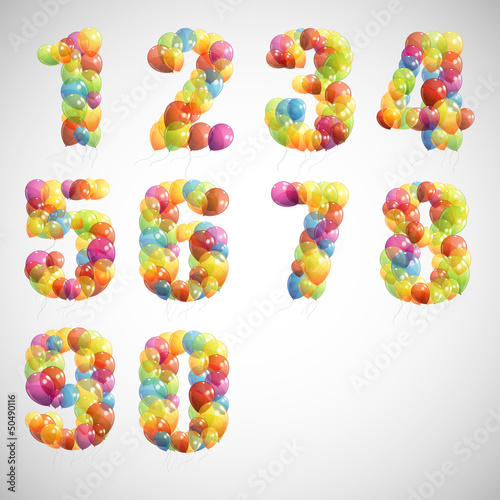 vector set with colorful numbers