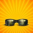 sunglasses with tropical island reflection. summer background