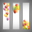 set of holiday banners with multicolored balloons