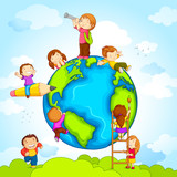 vector illustration of kids climbing around earth