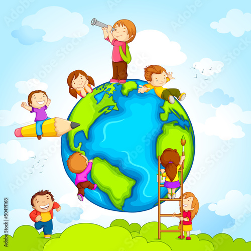 Sticker vector illustration of kids climbing around earth