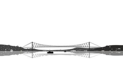 Istanbul Bosphorus Bridge silhouette