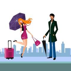 beautiful woman under an umbrella and man