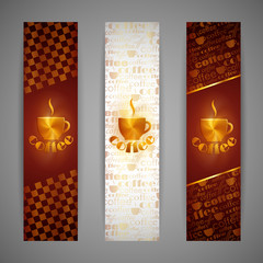 set of vector banners with coffee cup