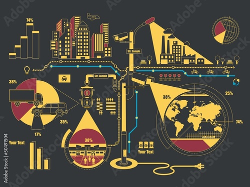 creative city info graphic, vector background,