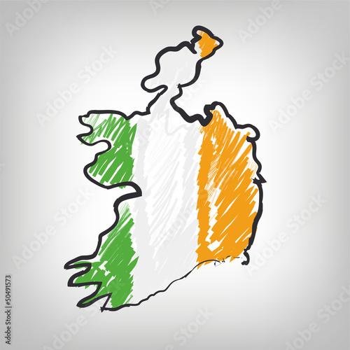 Irland Karte Zeichnung