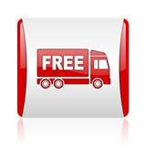 free delivery red and white square web glossy icon