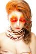 Stylized Woman - Closed Eyes. Red False Lashes. Creative Make up