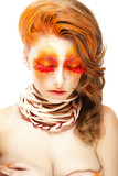 Stylized Woman - Closed Eyes. Red False Lashes. Creative Make up