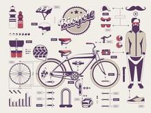 hipster vs rower informacji elementy graficzne