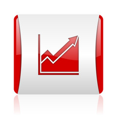 histogram red and white square web glossy icon