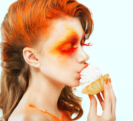 Coloring. Creativity. Red-haired Woman eating Cake with Cream