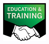 Business handshake with text Education and Training, vector