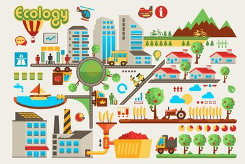 colorful ecology info graphic background