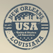 Stamp with name of Louisiana, New Orleans, vector