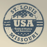 Grunge rubber stamp with name of Missouri, St. Louis, vector