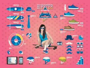 hipster girl info graphic, sport elements,long board