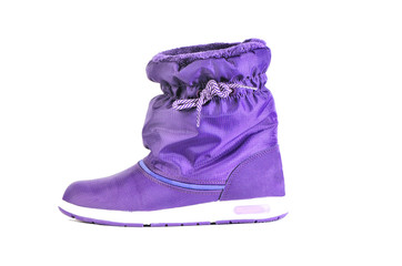 Purple warm female boot isolated over white