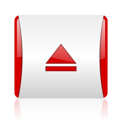 eject red and white square web glossy icon