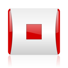 stop red and white square web glossy icon