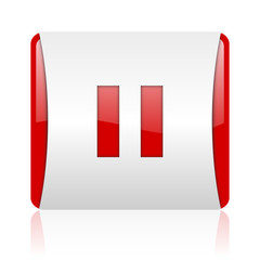 pause red and white square web glossy icon