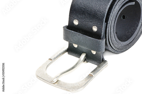 Black leather belt with silver buckle isolated over white