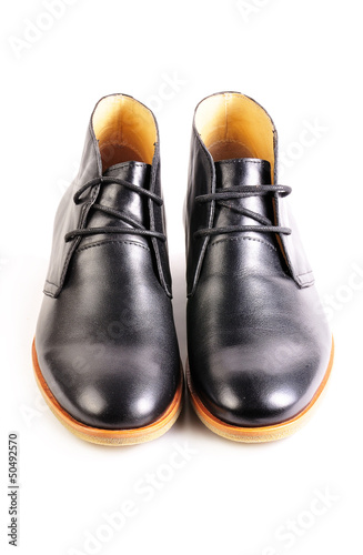 pair of black leather elegant shoes isolated