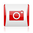 camera red and white square web glossy icon