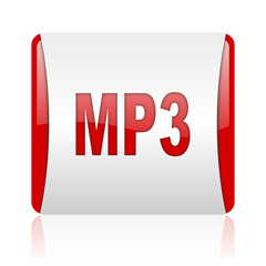 mp3 red and white square web glossy icon
