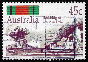 Postage stamp Australia 1992 Bombing of Darwin, 1942