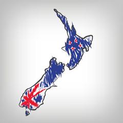 Neuseeland Karte Zeichnung
