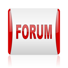 forum red and white square web glossy icon