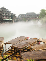 Wooden boat in Chinese city.