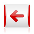 arrow left red and white square web glossy icon