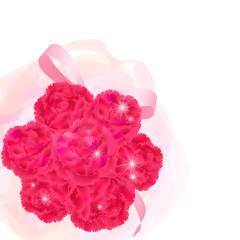 輝くカーネーションの花束