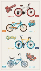 bicycle set, vector background