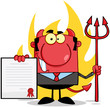 Devil With A Trident Holds Up A Contract  In Front Of Flames