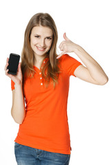 Woman showing mobile phone and making call me gesture