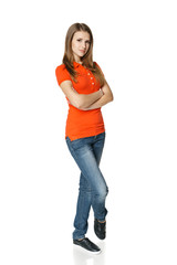 Calm girl in full length standing with folded hands