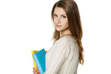 Closeup of calm woman holding books