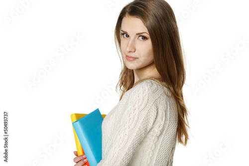 Closeup of calm woman holding books
