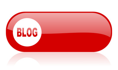 blog red web glossy icon