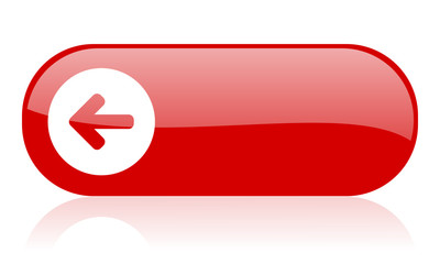 arrow left red web glossy icon