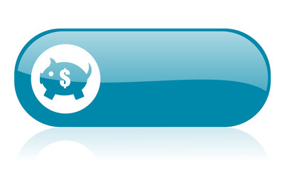 piggy bank blue web glossy icon