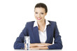 Attractive businesswoman sitting at the desk