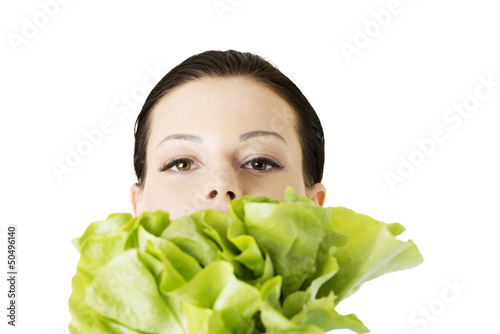 Portrait of attractive caucasian woman with salat